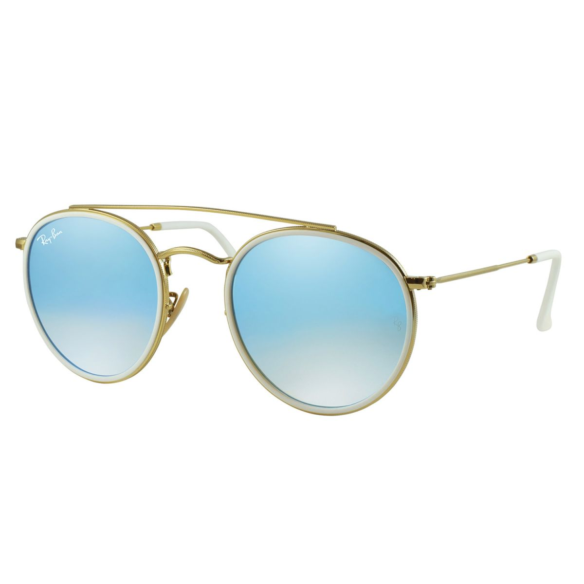 93f6d7391307c Óculos de Sol Ray-Ban Rb3647n 001 4O 51 Round Double Bridge Azul Degradê